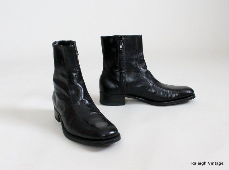 Vintage 1960s MENS Boots : 60s 70s MOD Black Ankle Boots Florsheim ...