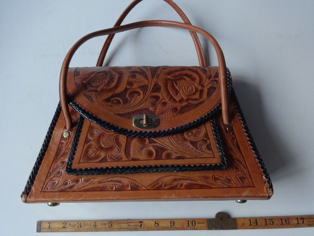 Hand-tooled handbag Made in Mexico
