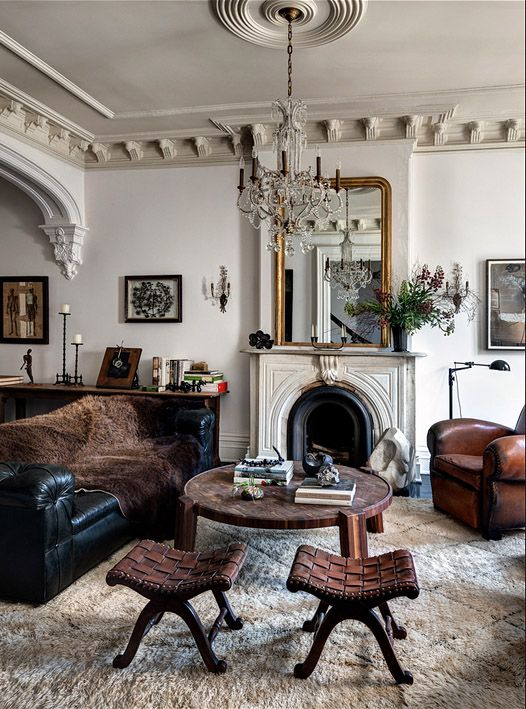 Living room interior design by roman and williams berber moroccan rug from nazmiyal http