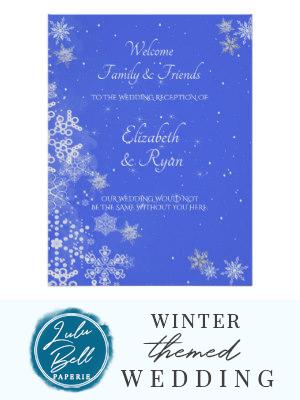 Winter-Märchenland, Schneeflocken, Hochzeits-Willkommens-Plakat   Zazzle   – Winter Wedding Invitations, Decor, Ideas, Bridesmaid Dresses, Floral Bouquets, Centerpieces, and Christmas Wedding Color Palettes