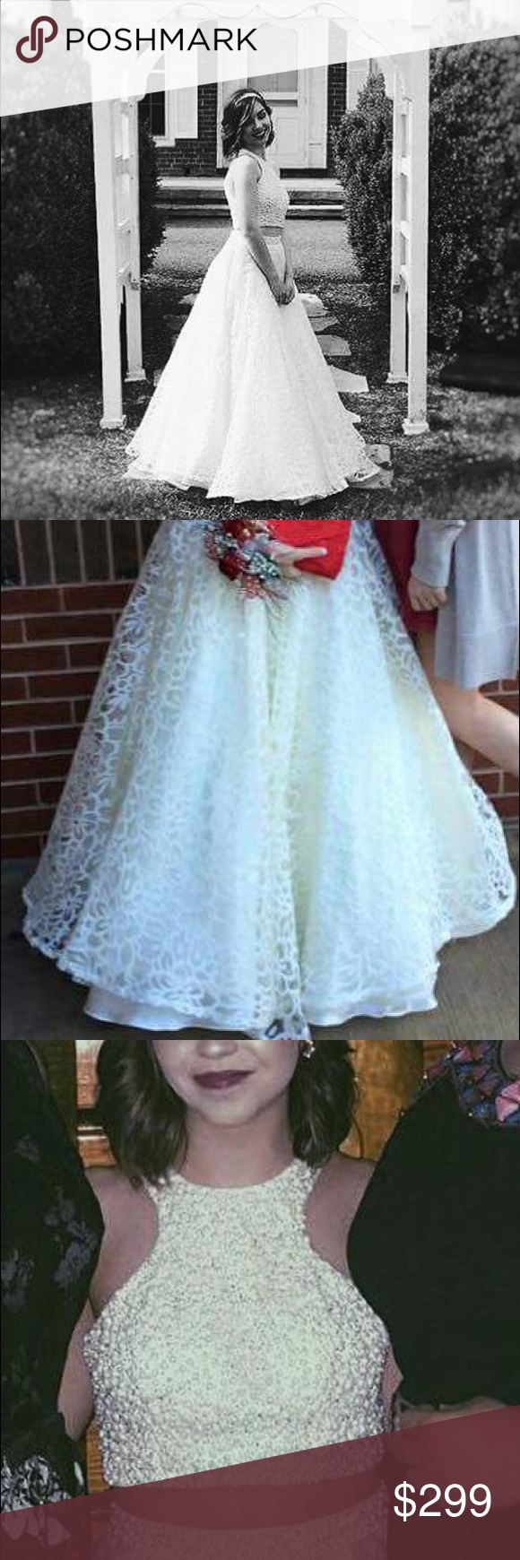 Two piece white long prom dress white long prom dresses and prom