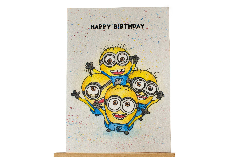 Minion Birthday Card Happy Birthday Card With Minions Handmade Drawn Minion Card Birthday Card Minion Birthday Card Happy Birthday Drawings Minion Birthday