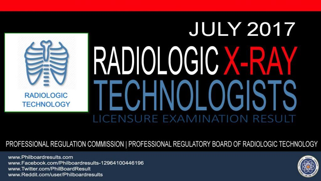 List Of Passers July 2017 X Ray Technologist Board Exam Result
