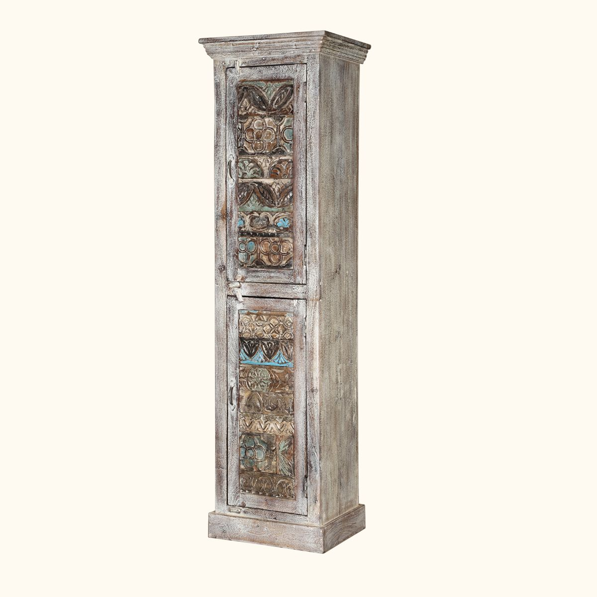 Bring to your home the essence of old world charm and accentuate any space with this storage armoire. The armoire comes with four shelves to store clothing, books, dining ware, or anything that you desire.  The rustic storage cabinet offers beautiful looks with its reclaimed wood construction and exquisite design with carved floral and leaf motifs in different shades of colors on the front doors.  Whether it's your bedroom, living space, or hallway, this beautiful addition to any space will…