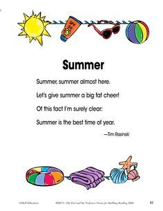 Summer Poems For Preschoolers Google Search Summer Poems Kids