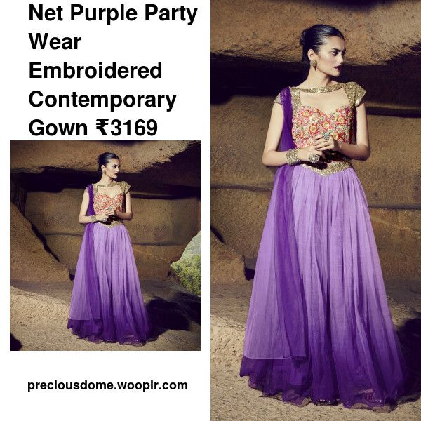 ee153ec601d7 Net Purple Party Wear Embroidered Contemporary Gown