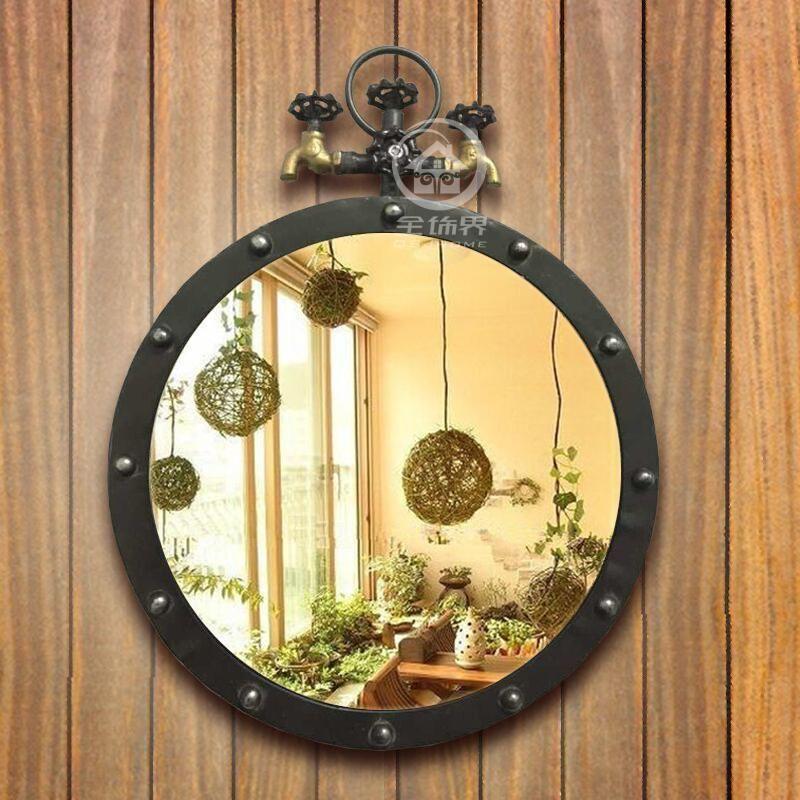 Buy Metal Wall Mirror Loft Style Round Mirror Decorative Mirror ...