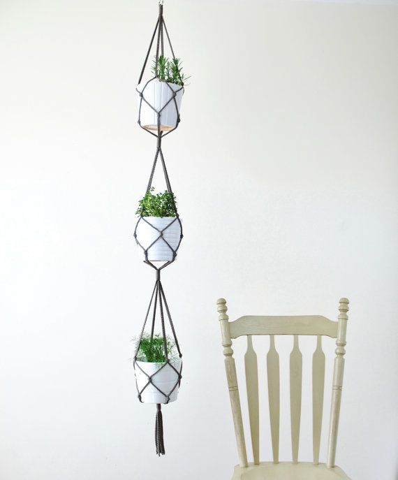 Three Tiered Macrame Plant Hanger Simple Hanging Plant Hanging Plant Holder Hanging Plants Hanging Plants Diy