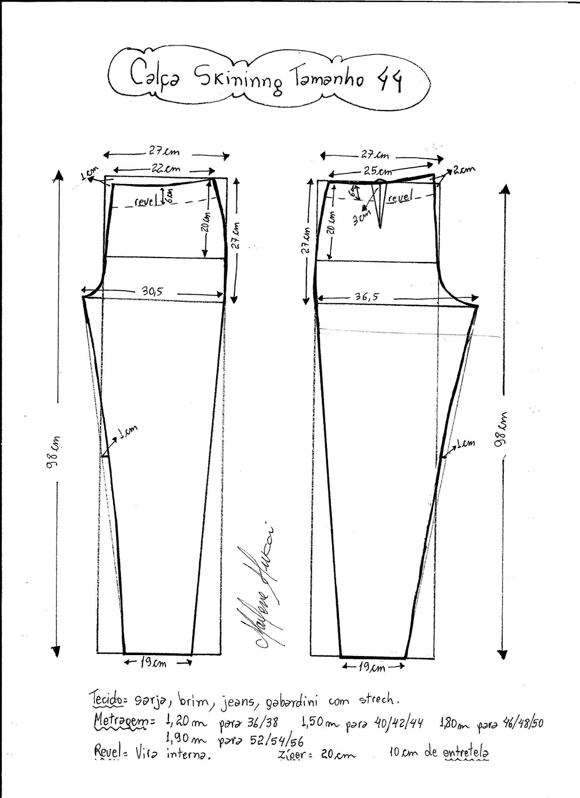 Esquema de modelagem de calça skinny tamanho 44. Szabásminták Ingyen a972688aff
