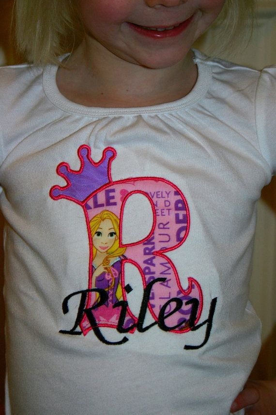 Aris Angels Personalized Girls Birthday Tangled Rapunzel Shirt Embroidered Appliqued Monogrammed On Etsy 2750