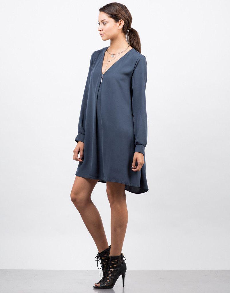 Woven Long Sleeve Shift Dress - Blue Dress - Day Dress – Dresses – 2020AVE