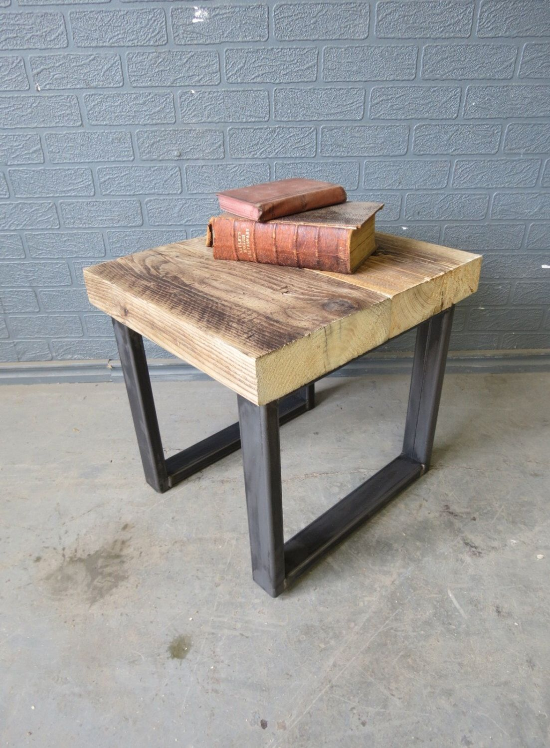 Industrial Chic Style Reclaimed Custom Bedside Side Table 076 Lamp