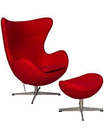Leisuremod Arne Jacobsen Egg Chair Ottoman Red Wool