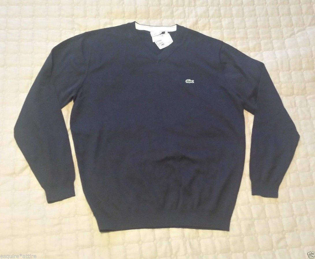 Details about LACOSTE men navy blue V-Neck cotton sweater size LT ...