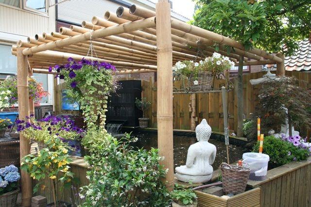 Bamboo pergola garden decoration with bamboo p - Pergola bambou jardin ...
