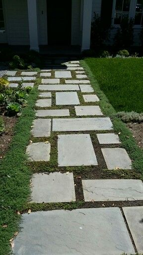 Pathway design from garage to house -- but with less grass (artificial) in between the stones. Stones in Yosemite or full color Bluestone. & Pathway design from garage to house -- but with less grass ...