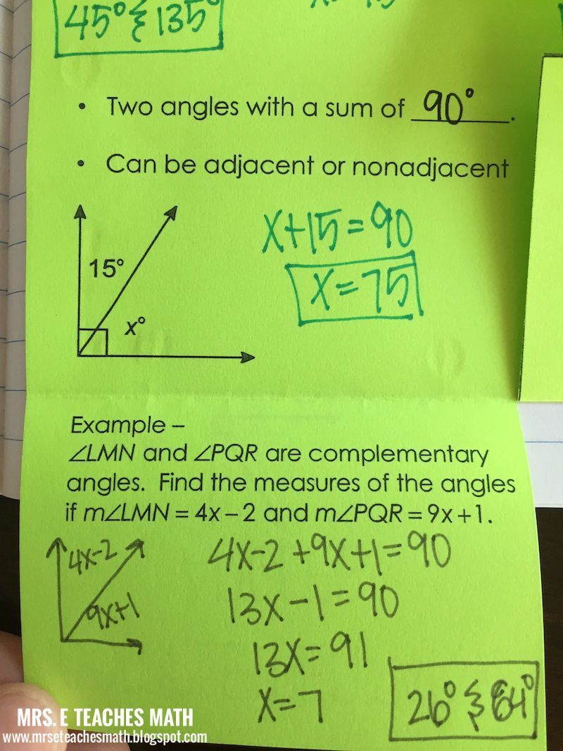 Angle Pair Relationships Interactive Notebook Page