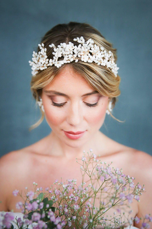 Braut Diadem, Haarreif, Haarkrone mit Schmuckperlen und