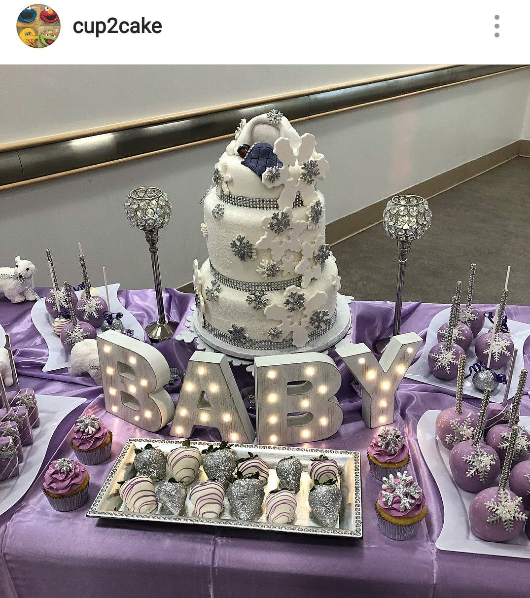 Let It Snow Theme Baby Shower Dessert Table Decor Baby Shower Purple Baby Shower Themes Trendy Baby Shower Themes