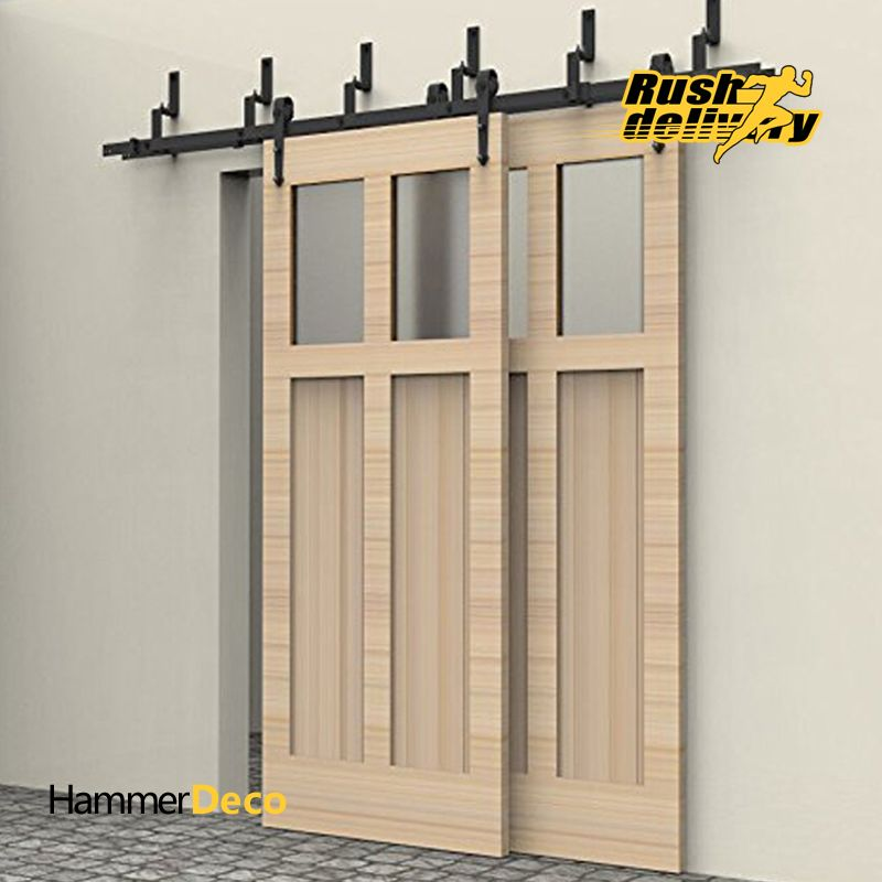 6 8ft Arrow Design Bypass Sliding Barn Wood Door Closet Door Interior Rustic Sliding Barn Door