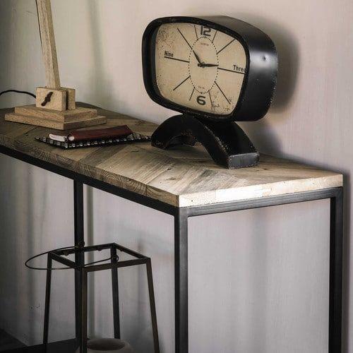 Konsoltisch aus Metall und Recyclingholz, B 119 cm, schwarz - innendekoration ideen