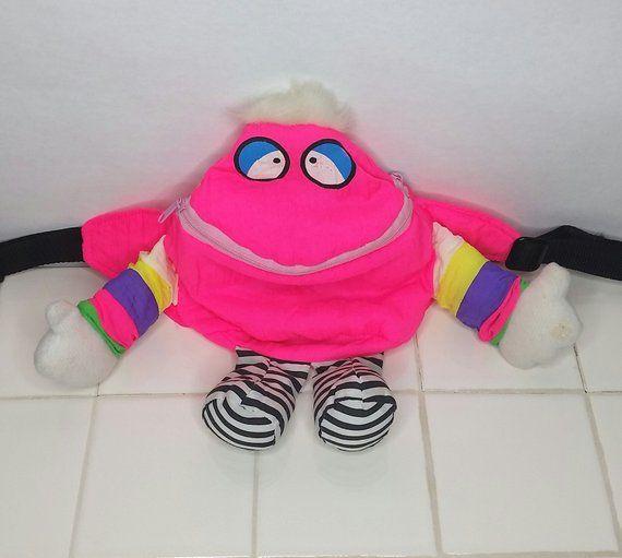 80s Neon Pink Monster Fanny Pack Pouch Vintage Bum Bag Belt 90s Retro Plush  Festival Purse 24d4e8a9f7299
