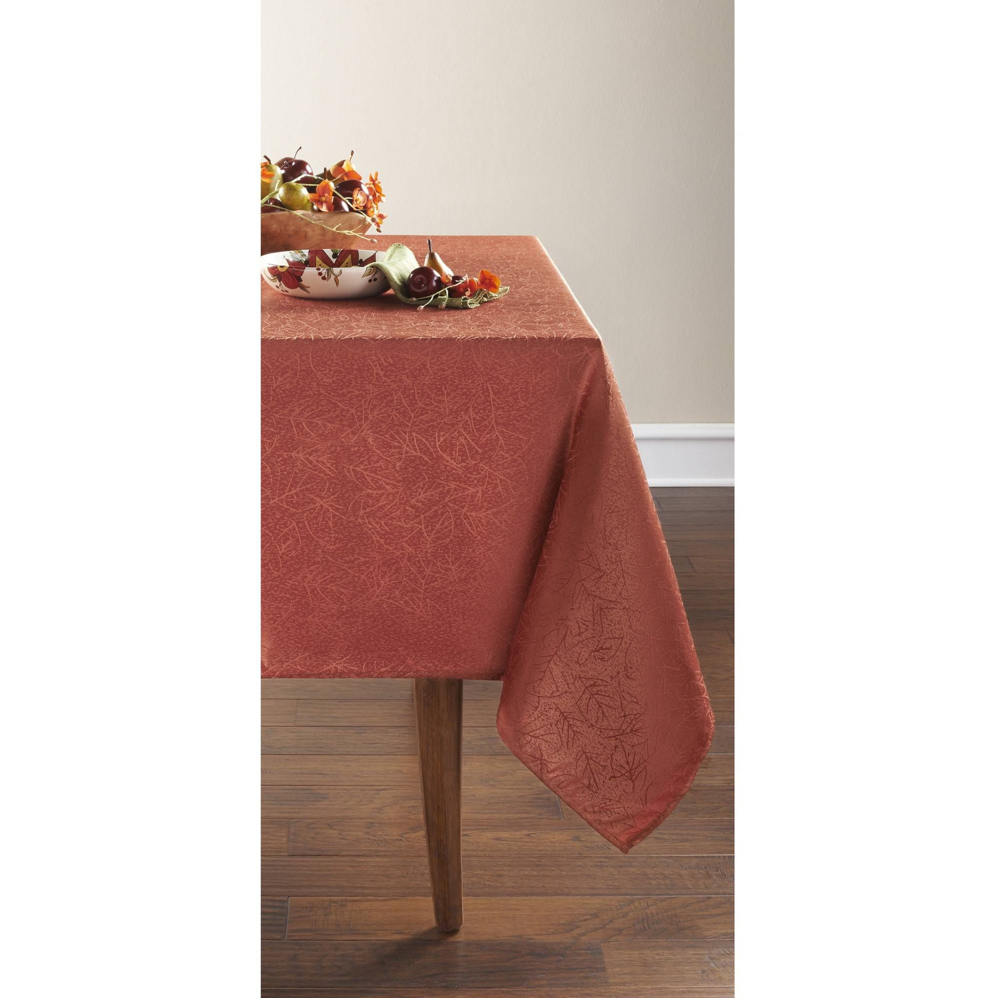 Mainstays Damask Rustic Orange Tablecloth