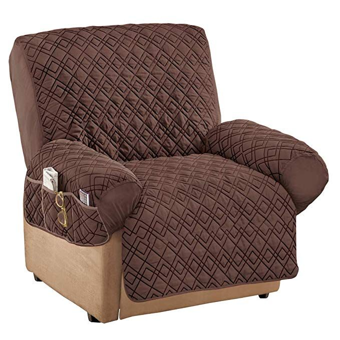 Collections Etc Diamond Shape Quilted Stretch Recliner Cover With Storage Pockets Furniture Protector Chocolate Recliner Review Recliner Cover Recliner Furniture Covers
