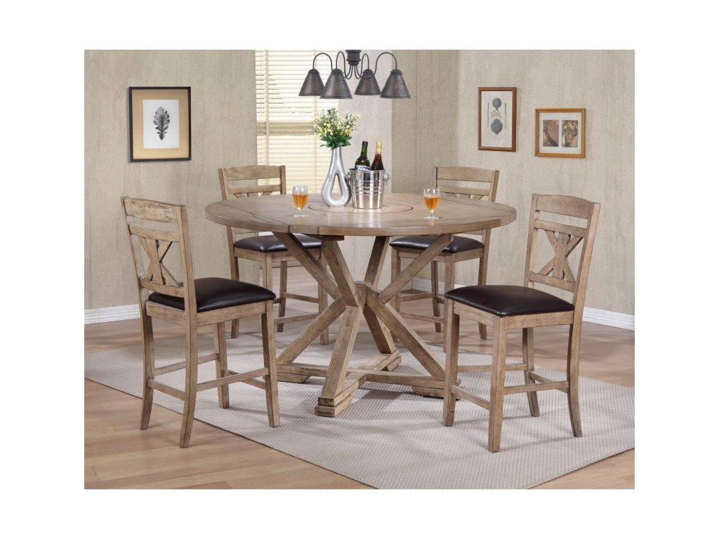 Grandview 5 Piece Counter Height Drop Leaf Dining Set By Winners