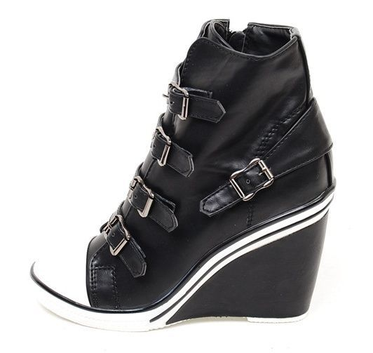 5c58fd23e44a Women Wedge High Heel High Top Sneakers Tennis Shoes Ankle Boots Black