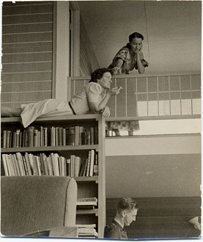 Just hangin' out on top of a bookcase. Ain't no big thing.  Breuer House, Lincoln, Mass. designed by Marcel Breuer, 1940 / unidentified photographer. Marcel Breuer papers, Archives of American Art, Smithsonian Institution.
