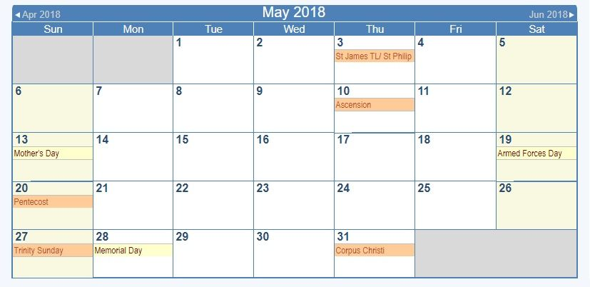 May 2018 Usa United States Calendar With Holidays Events Usa