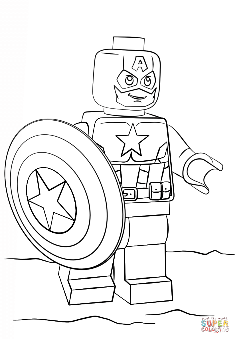 Lego captain america super coloring 2017 coloring for Lego coloring pages to print free