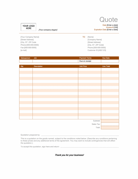 catering quote template quotation templates invoice template