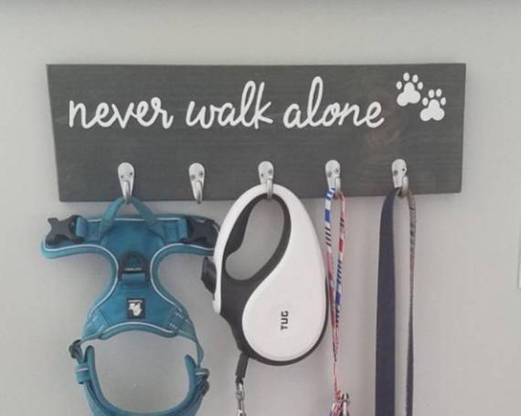 Dog Leash Hooks, Key Holder, Never Walk Alone, New Puppy Gift #newpuppy