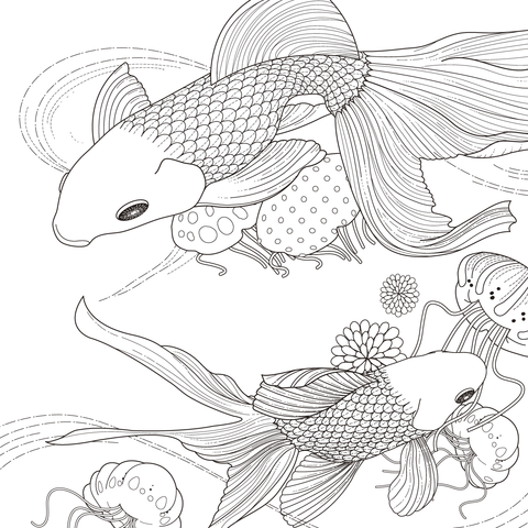 Golden Fish Coloring Page From Goldfishes Category Select 25699 Printable Crafts Of Cartoons