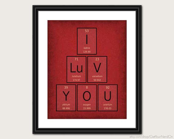 I love you periodic element word poster wall art print i love you periodic element word poster wall art print available as 8x10 11x14 or 16x20 urtaz Choice Image