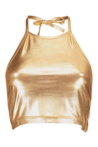 360b9601ab7e4 Boohoo Womens Emma Metallic Crop Halterneck Top in Gold s...