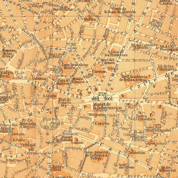 1912 Madrid Antique Map City Center Street Plan Baedeker Spain