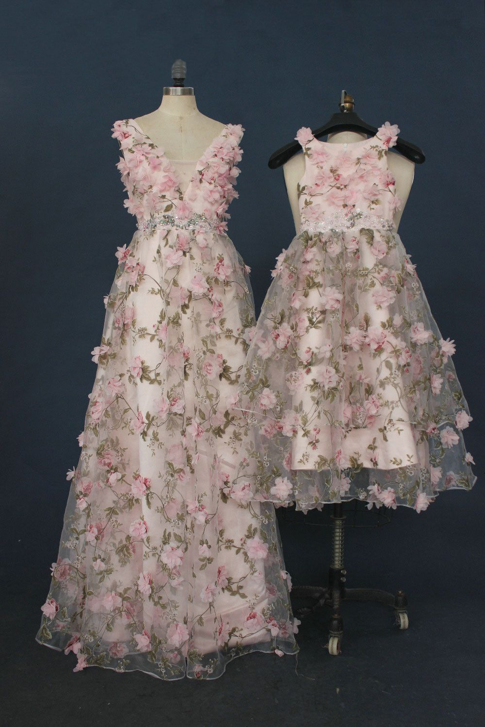 Unique pink printing long prom dress pink evening dresses long