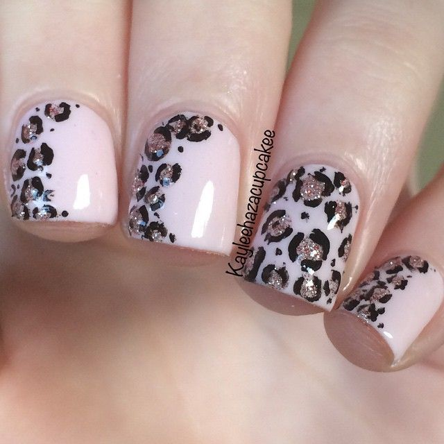 #ShareIG Soft pink and glitter leopard print nail art inspired by the  lovely @polishthatnail - ShareIG Soft Pink And Glitter Leopard Print Nail Art Inspired By The
