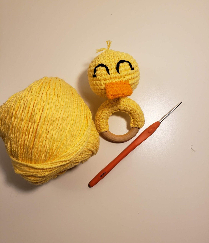 Crochet pattern duck teething rattle duck teething ring