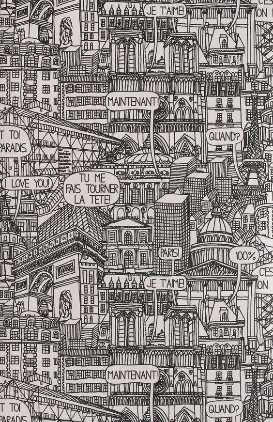 """Papier peint """"Paris"""" de Jean-Charles de Castelbajac"""