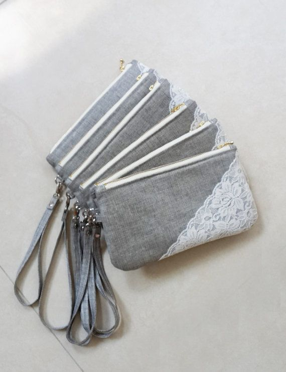 personalized wedding gift Set of 6 Grey Bridesmaid Clutches Wedding Clutch Purses Wedding Dress Accessories    Make your wedding special with this