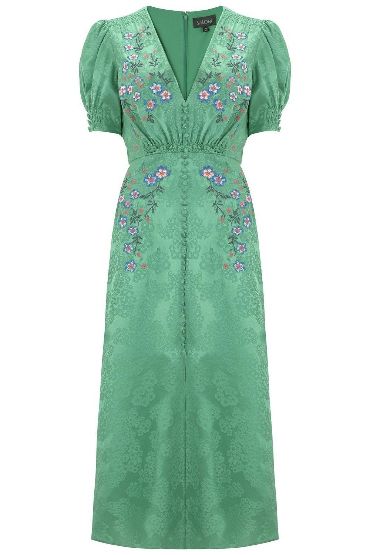 e9937533b Lea satin floral silk dress kelly green - SALONI | Fantasy Wardrobe