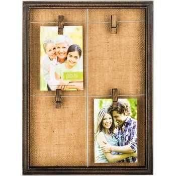 Make frame myself and put burlap as background, staple wires and use ...