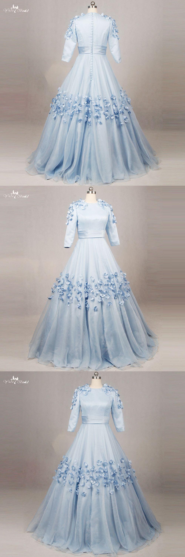 RSE794 Round Neckline Baby Blue Sweet 16 Florals Long Sleeve