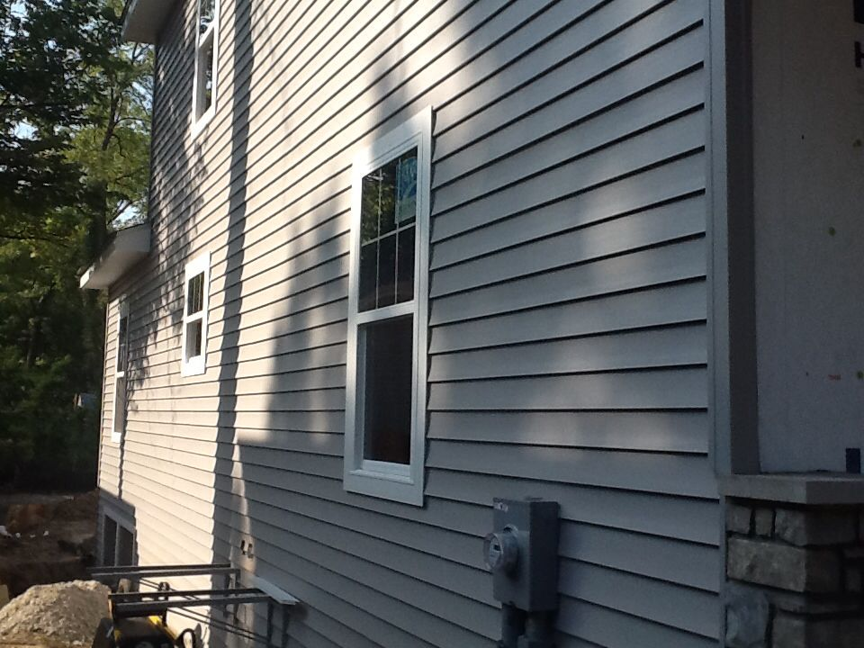 Mastic Carvedwood Victorian Grey Double 5 Lap Siding With White Window Trim Window Trim White Window Trim Vinyl Window Trim