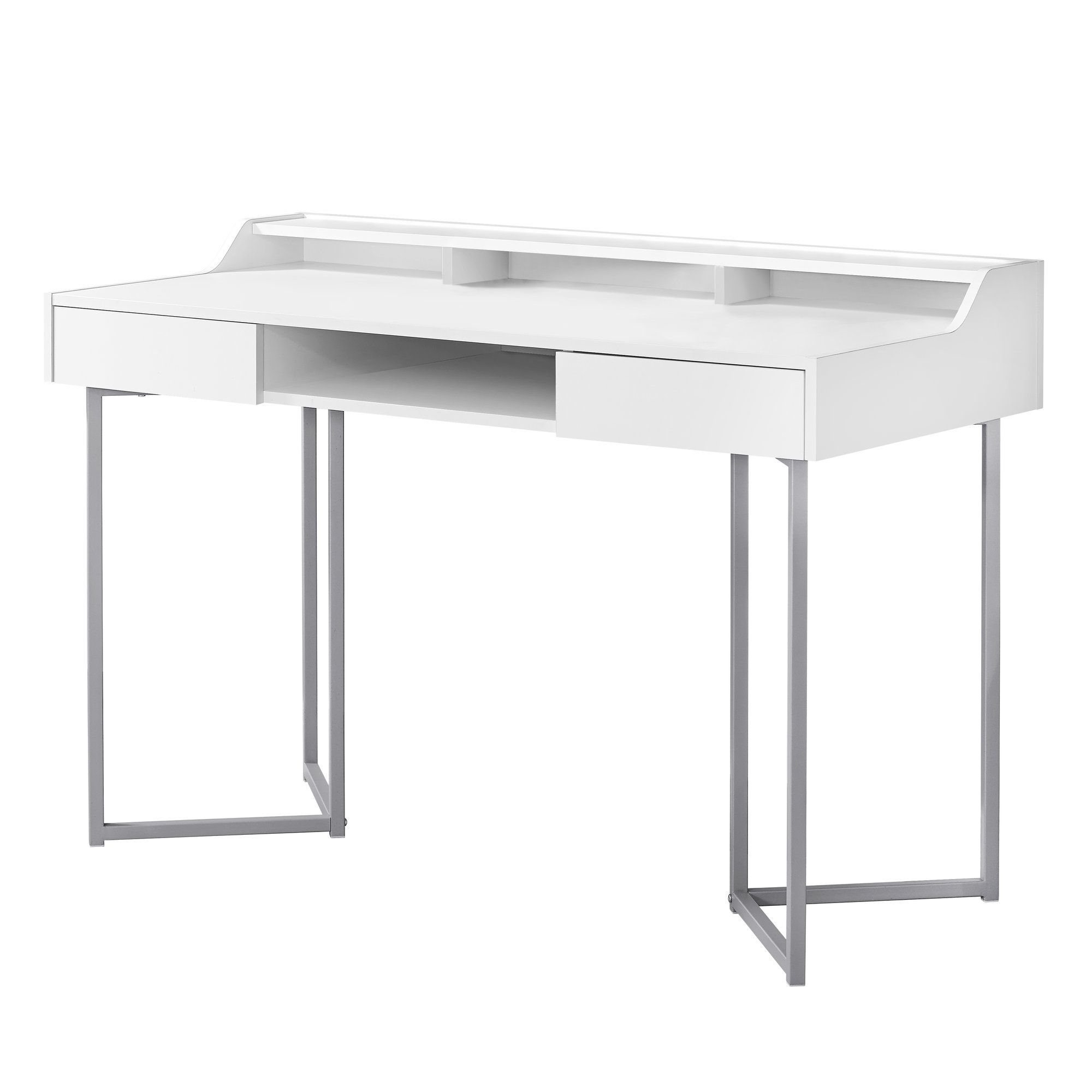 48 White And Silver Contemporary Rectangular Computer Desk With Drawers 33827738 White Computer Desk Computer Desk With Shelves Contemporary Writing Desk