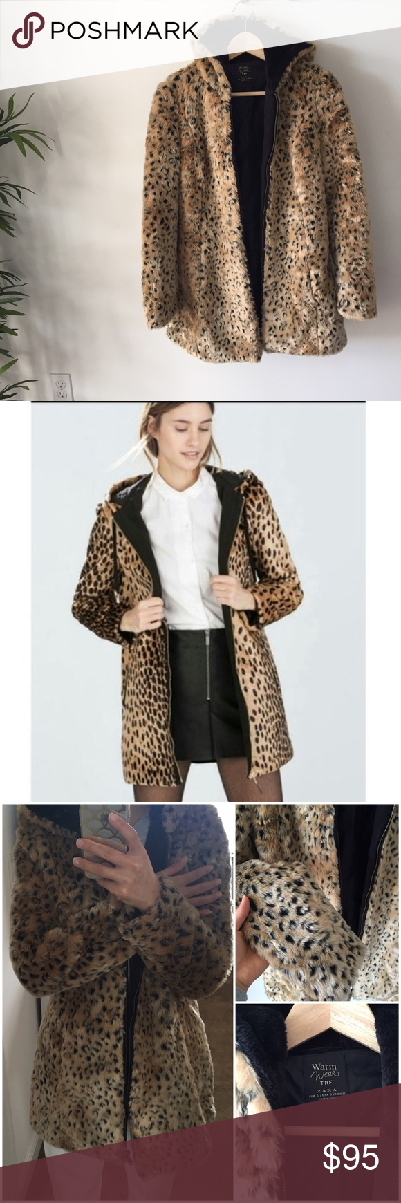 Zara Faux Leopard Print Coat With Hood Size S Leopard Print Coat Clothes Design Zara [ 1740 x 580 Pixel ]
